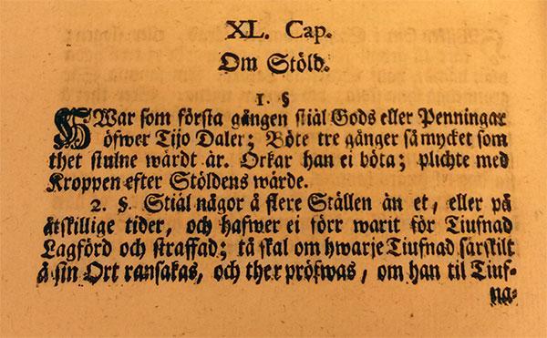 1734 års lag: Om stöld
